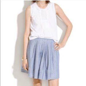 Madewell Pleated Shirtstripe Skirt Size 4